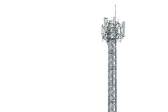 Communication tower in Thailand isolated on white Stock Photo