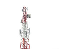 Communication tower in Thailand isolated on white Stock Image
