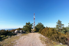 Communication tower on top of mountain Stock Image