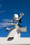 Communication tower on yacht. Royalty Free Stock Image