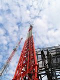 Communication Towers. TV station towers at a remote Transmitter site Royalty Free Stock Photo