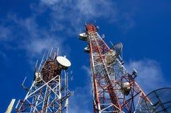 Communication towers stock photo