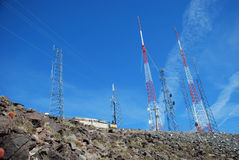 Communication towers atop Arden Peak, Nevada. Stock Photography