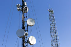 Communication towers in the mountain Stock Photo