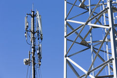 Communication towers in the mountain Royalty Free Stock Photography