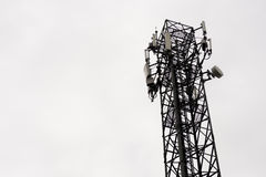 Communication towers in the sky is overcast. Royalty Free Stock Photo