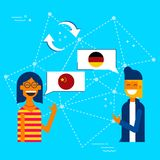 Friends translating chinese to german language. Communication translation concept illustration, modern flat art style. Boy and girl having online conversation in Royalty Free Stock Photo