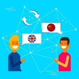 English and chinese online chat translation. Communication translation concept illustration, modern flat art style. Friends having online conversation in chinese Royalty Free Stock Photos