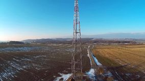 Communication transmission tower stock video