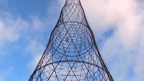 Communication transmit cell radio electrical tower with clouds. And sky 1 stock footage