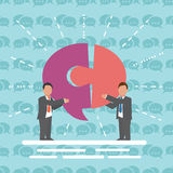 Communication Two businessmen with speech bubble Stock Images