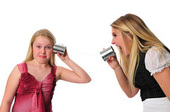 Communication between two sisters royalty free stock photo