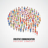 Communication vector concept, people crowd in speech bubble shape Stock Images
