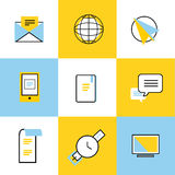 Communication vector icons set. Communication sign and communication symbols. Business icons - computer, mobile phone and, finance, globe earth, book, barcode Royalty Free Stock Photo