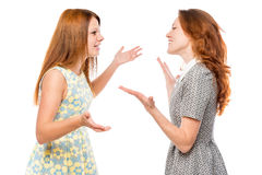 Communication verbale de femme émotive images stock