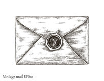 Communication with mail,Mail hand drawing vintage style. Communication with vintage paper mail,paper mail hand drawing vintage style Stock Images