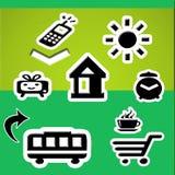 Communication web. Background green with symbols web white and black Royalty Free Stock Photo