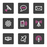 Communication web icons. Vector web icons, grey square buttons series Stock Photography