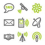 Communication web icons. Vector web icons, green and gray contour series