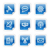 Communication web icons, blue sticker series. Vector web icons, blue glossy sticker series vector illustration