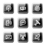 Communication web icons, glossy buttons series. Vector web icons, black square glossy buttons series Royalty Free Stock Photos