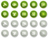Communication web icons, green circle buttons Stock Photo