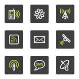 Communication web icons, grey square buttons. Vector web icons set. Easy to edit, scale and colorize Royalty Free Stock Photo