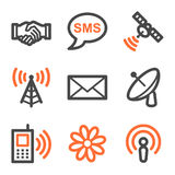 Communication web icons, orange and gray contour s