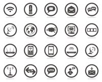 Communication web icons set. One colour communication web icons for your web site Royalty Free Stock Photography