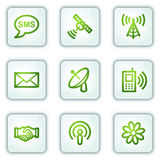 Communication web icons, white square buttons Royalty Free Stock Photo