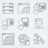 Communication and web service  icons set Royalty Free Stock Images