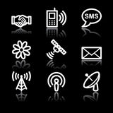 Communication white contour web icons V2 Stock Images