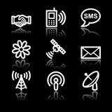 Communication white contour web icons V2. Vector web icons, white contour series Stock Images