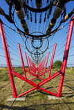 Communication wires lead to switching station from radio transmitter tower Stock Images