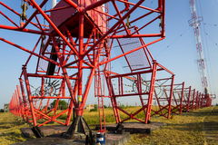 Communication wires at radio transmitter tower Liblice in Czech republic Stock Images