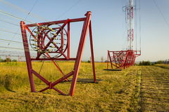 Communication wires at radio transmitter tower Liblice in Czech republic Royalty Free Stock Images