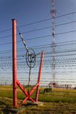 Communication wires at radio transmitter tower Liblice in Czech republic Stock Image