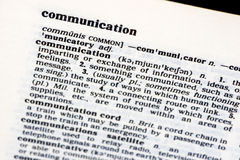 Communication. The word Communication from a dictionary, showing variations on its meaning. Copyspace Stock Photos