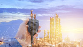 Communication works. Communication with Radio for work concept, Worker contact use radio on petrochemical plant background, Operator work Stock Image