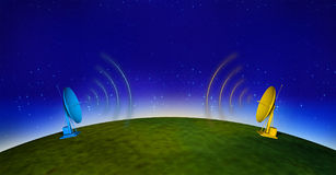 Communications 3. Antenna on earth and stars sky Royalty Free Stock Photography
