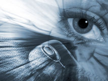 Communications abstract. Conceptual image of eye , mouse and numbers Royalty Free Stock Photography