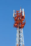 Communications antenna. Modern antenna with flat parabola on blue sky Royalty Free Stock Photos