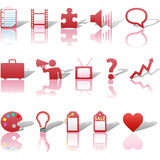 Communications Business Icons Reflections Red 3 Royalty Free Stock Image