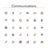 Communications Colored Line Icons. Social and communications colored line icons set. Vector illustration Royalty Free Stock Photography