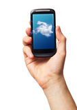 Communications concept. Cloud computing on mobile. smartphone with Cloud Concept on screen stock photo