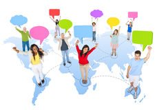 Communications. Diverse People With Speech Bubbles Stock Image