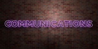 COMMUNICATIONS - fluorescent Neon tube Sign on brickwork - Front view - 3D rendered royalty free stock picture Royalty Free Stock Photography