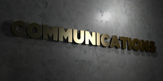 Communications - Gold text on black background - 3D rendered royalty free stock picture Stock Images