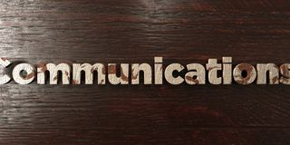 Communications - grungy wooden headline on Maple  - 3D rendered royalty free stock image Royalty Free Stock Images