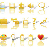 Communications Icons Gold Royalty Free Stock Images